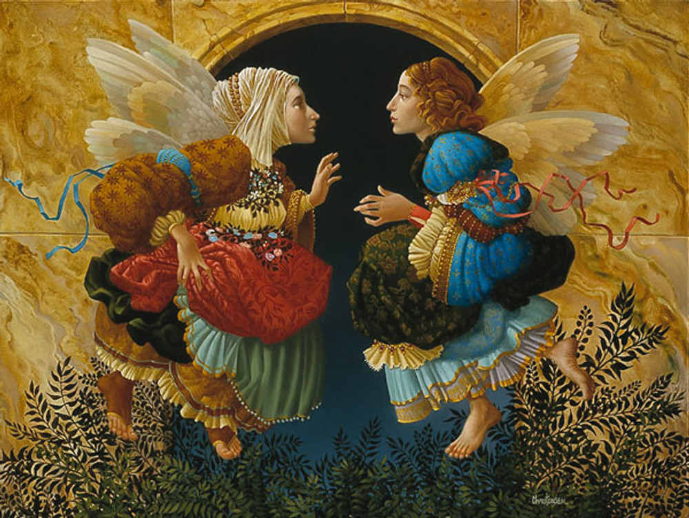 TWO ANGELS DISCUSSING BOTTICELLI, James Christensen LIMITED EDITION PRINT