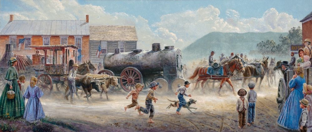 Heavy Traffic on the Valley Pike Mort Kunstler Signature Canvas