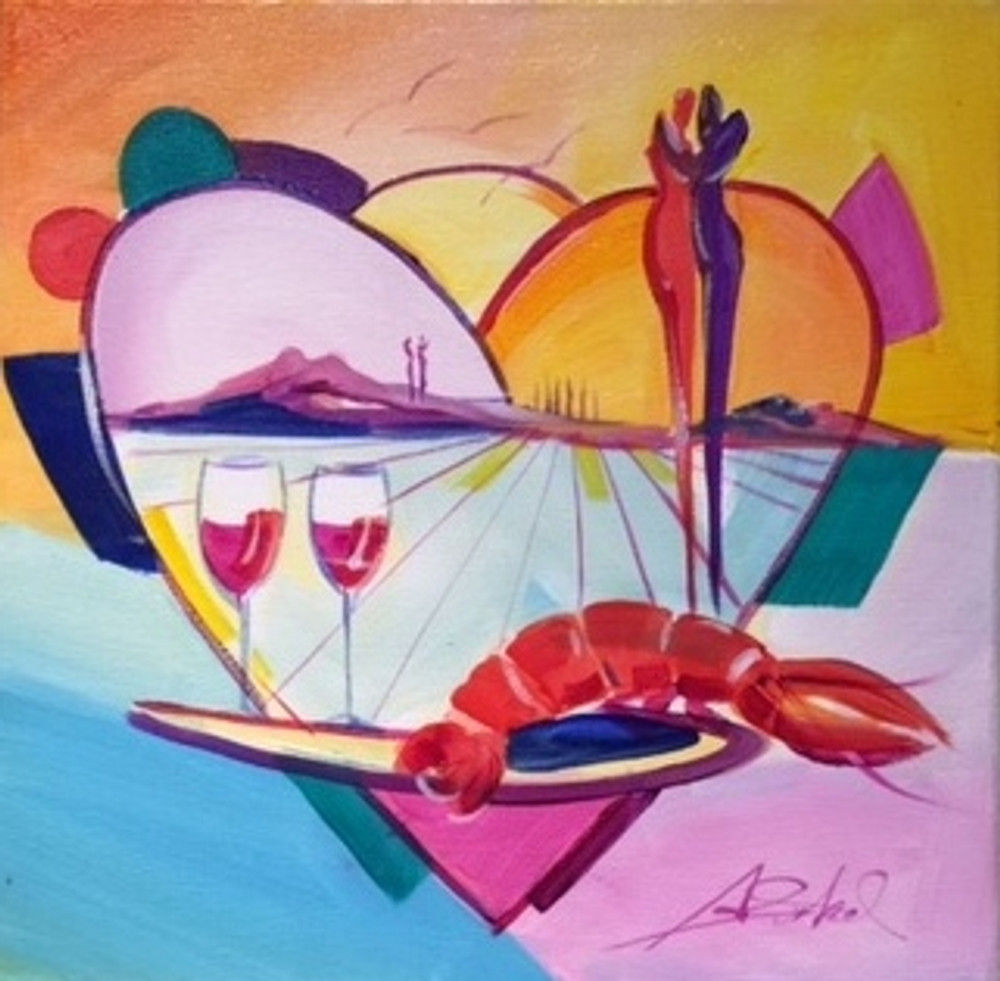Alfred Gockel painting with heart, wine, lobster and figures