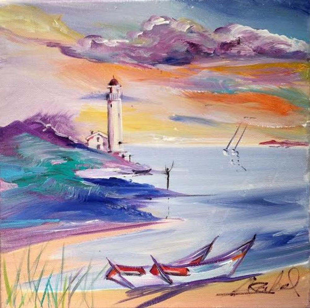 Alfred Gockel painting lighthouse, boats and ocean