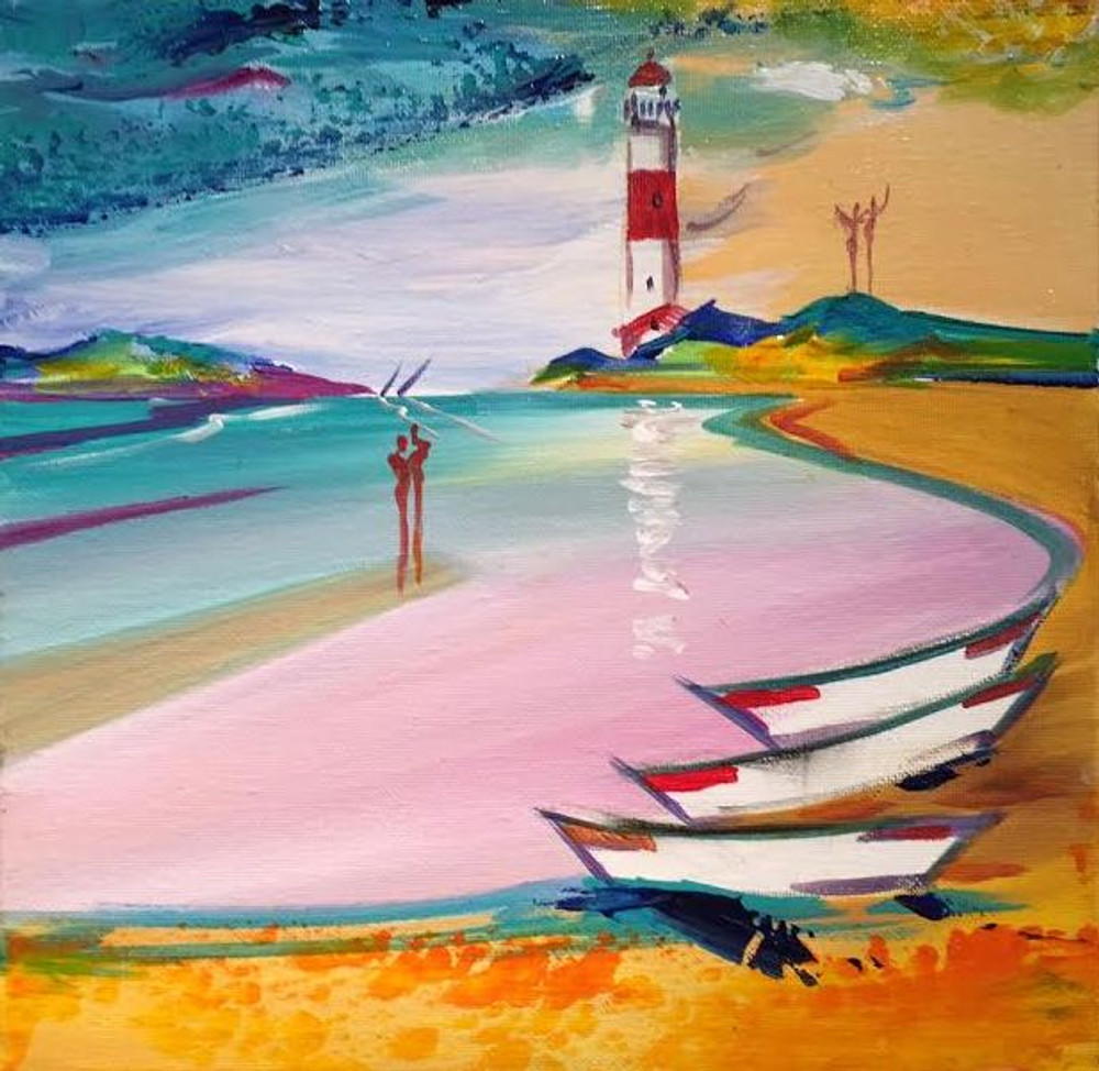 Alfred Gockel painting red lighthouse and boats