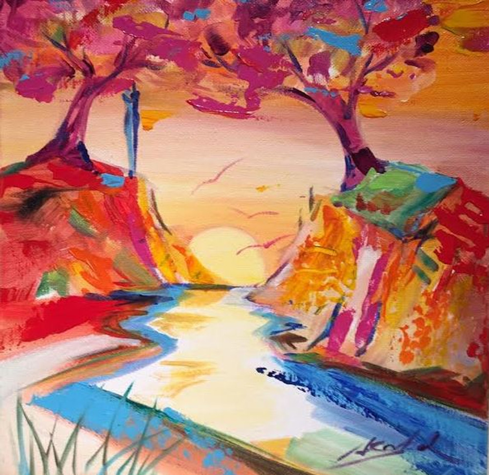 Gockel surreal river and trees painting