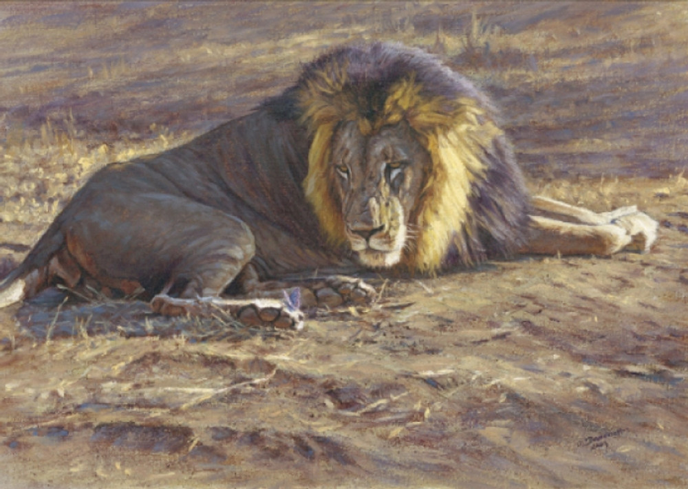 Lion and butterfly painting