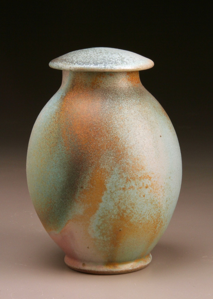 Covered Jar in Patina Green