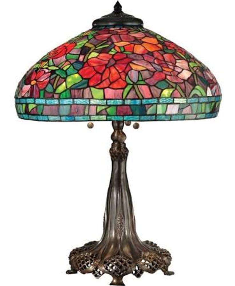 Peony Tiffany Lamp Reproduction - Bronze Base