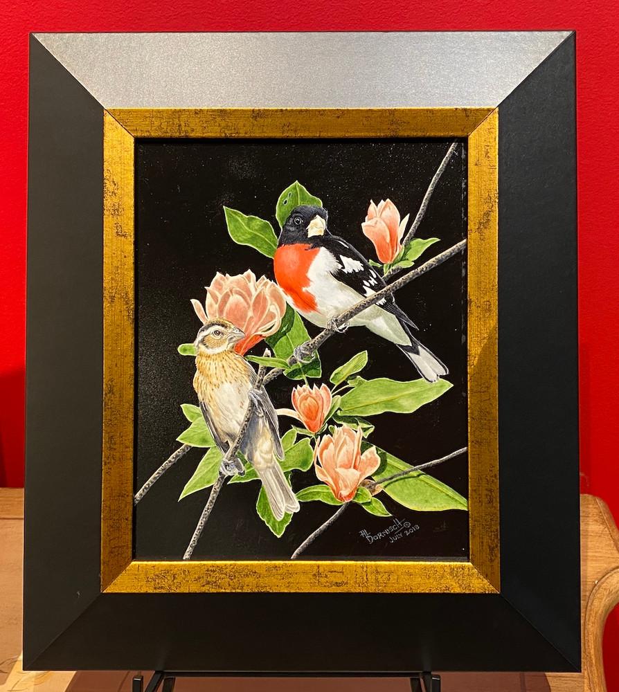 rose-breasted grosbeak painting
