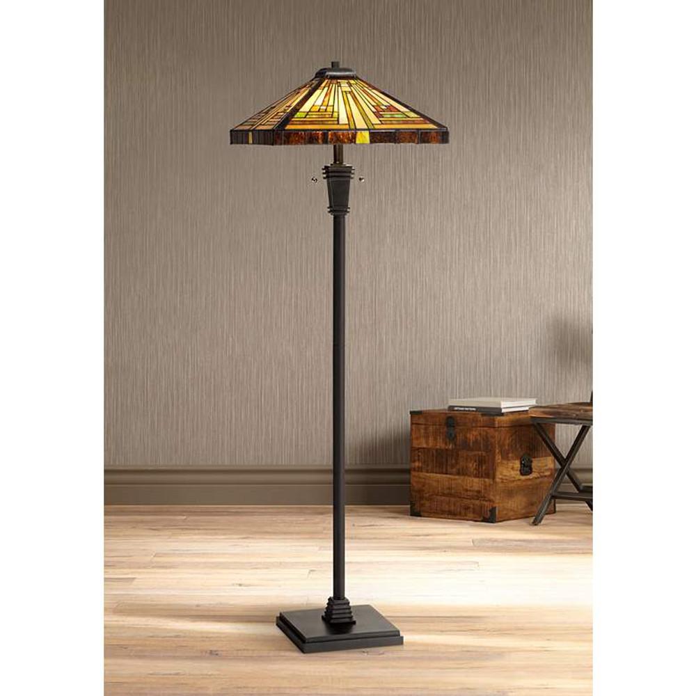 Stephen Tiffany-Style Art Glass Floor Lamp