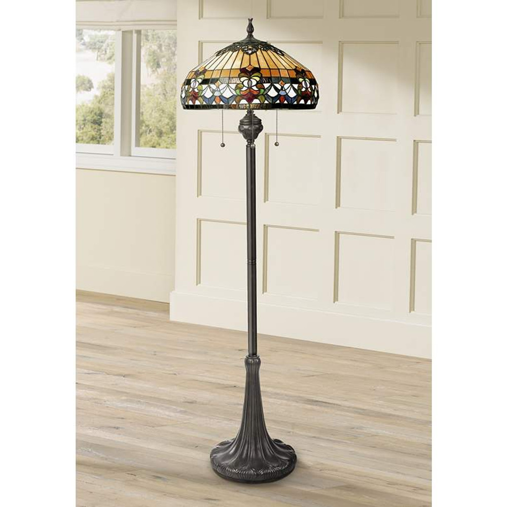 Belle Fleur Stained Glass Tiffany-Style Floor Lamp