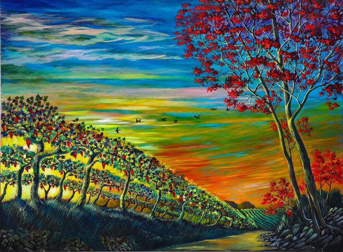 Vineyard original painting by Ford Smith