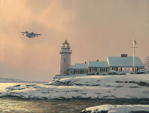 Afternoon Departure at Stoney Point Light, William S. Phillips LIMITED EDITION CANVAS