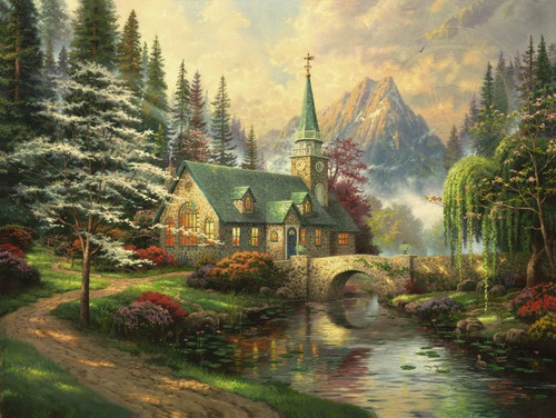 Dogwood Chapel, Thomas Kinkade, 18 x 24 canvas framed