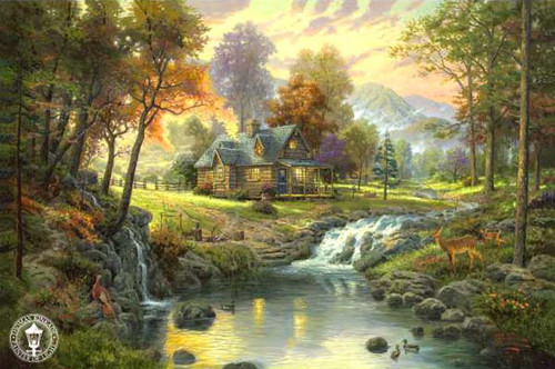 Mountain Retreat Classic Canvas by Thomas Kinkade