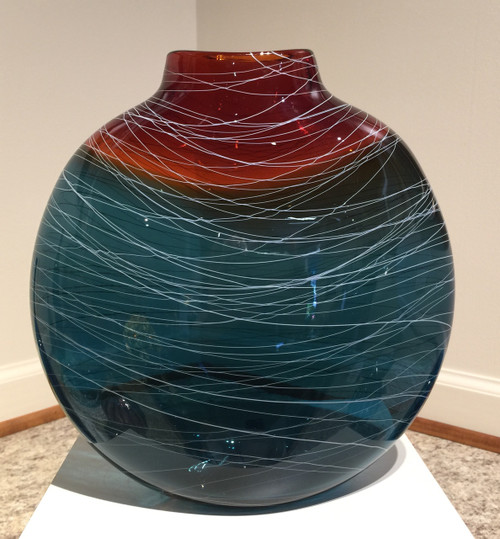 Hand Blown Flattened Vase