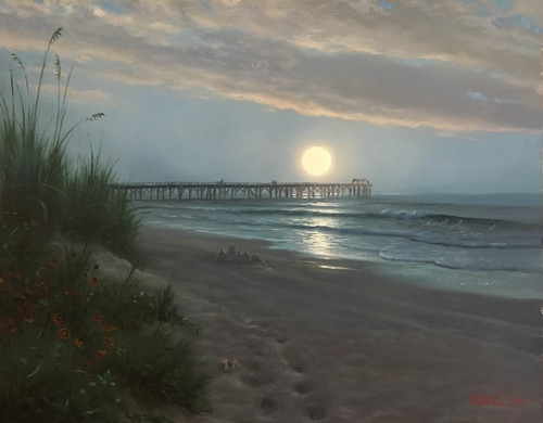 Moon and ocean painting