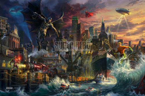 Justice League Showdown at Gotham City Pier Giclee Canvas