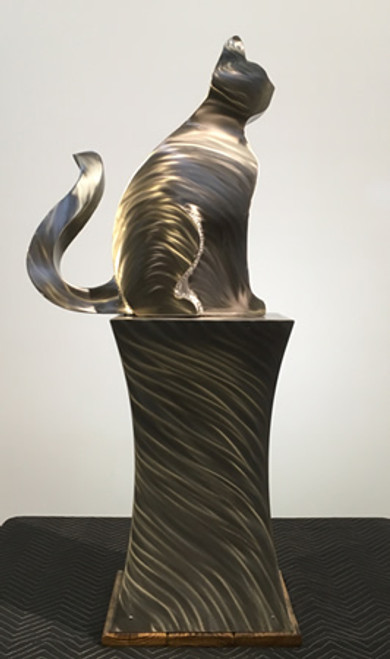 Watchful - Cat - Stainless Steel Sculpture by Mike Roig