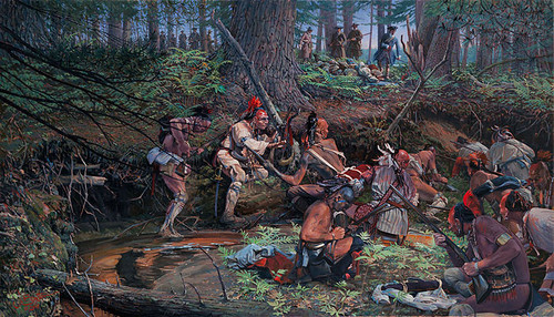 Ambush 1725 at Lovewell Pond by John Buxton MASTERWORK CANVAS EDITION