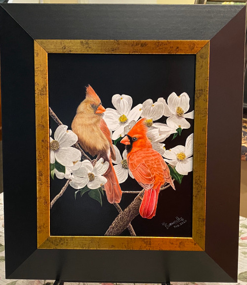 cardinal and dogwood painting
