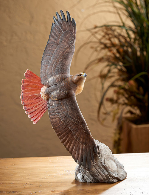 Soaring Red-tailed Hawk Sculpture BY PHIL GALATAS