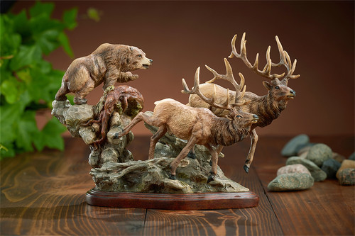 Encounter - Bear & Elk sculpture - D Edwards