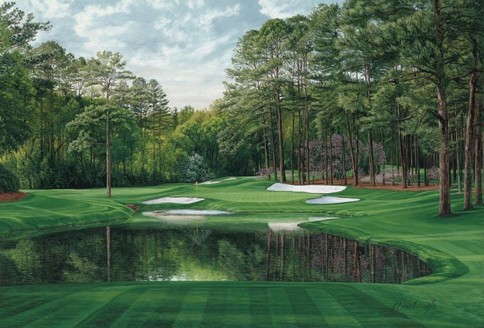 The 16th Hole, 'Redbud', Augusta by Linda Hartough canvas