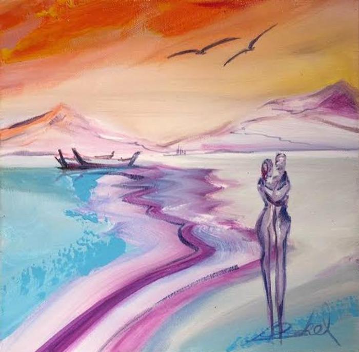 Alfred Gockel painting beach shore - couple