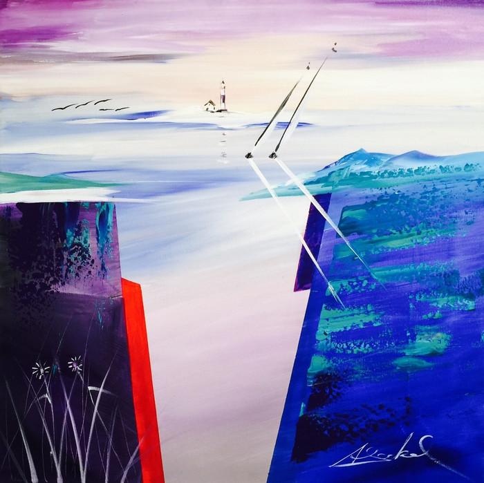 Modern sailboat painting.