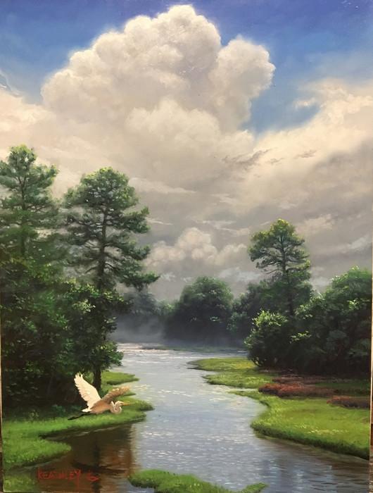 flying Egret and Marsh