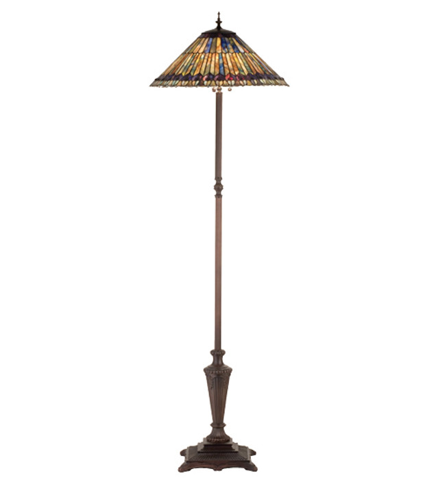 Tiffany Jeweled Peacock Tiffany Style Floor Lamp
