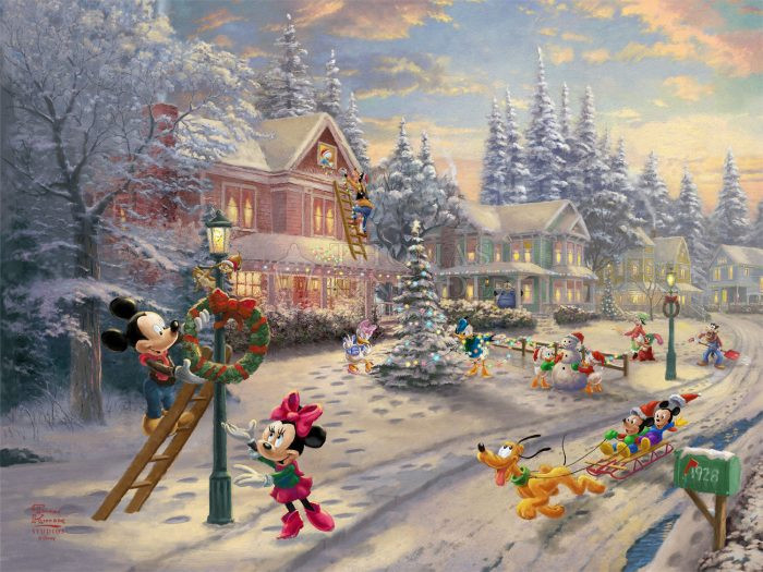 Mickey's Victorian Christmas by Thomas Kinkade Studios - Framed