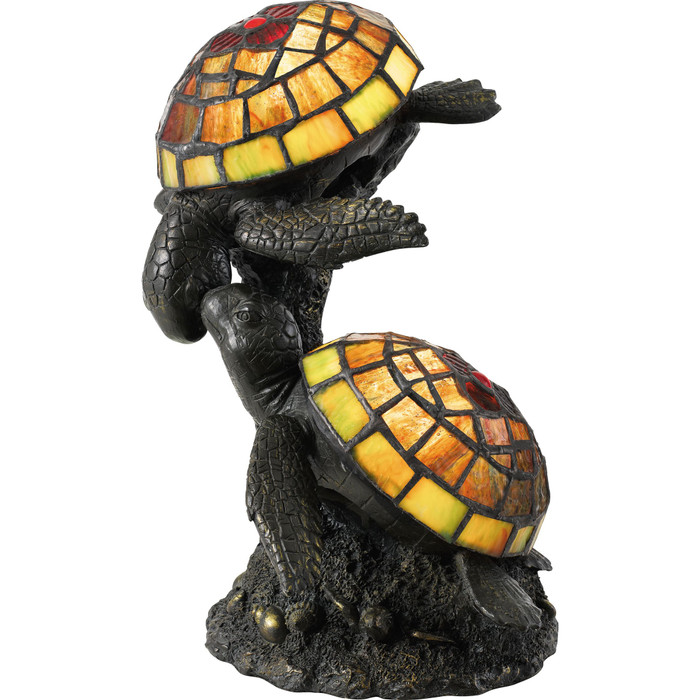 Turtle pair stained glass lamp