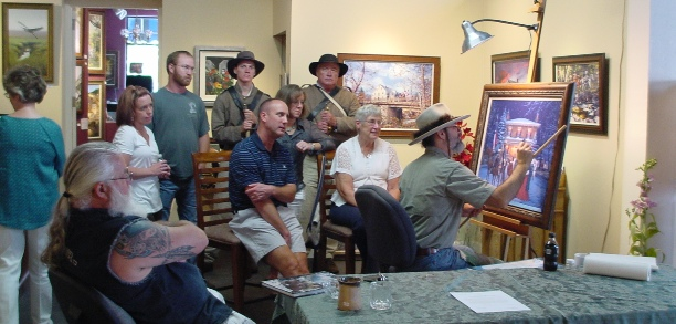 Civil War artist John Paul Strain painting at Ashley's Art Gallery, NC