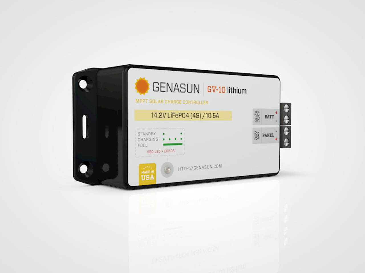 GV-10 | 140W 10.5A Genasun MPPT Solar Charge Controller - Li - Left2