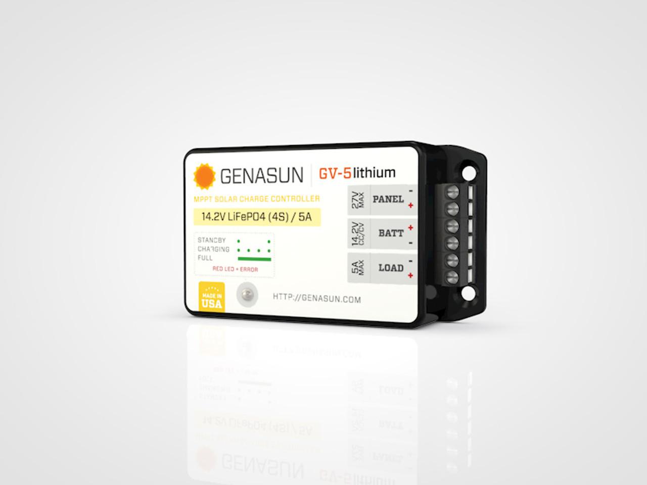 GV-5 | 65W 5A 14.2V Genasun MPPT Solar Charge Controller - Li - Right1