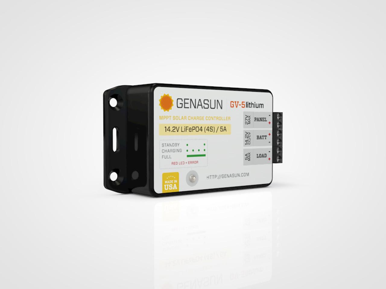 GV-5 | 65W 5A 14.2V Genasun MPPT Solar Charge Controller - Li - Left2