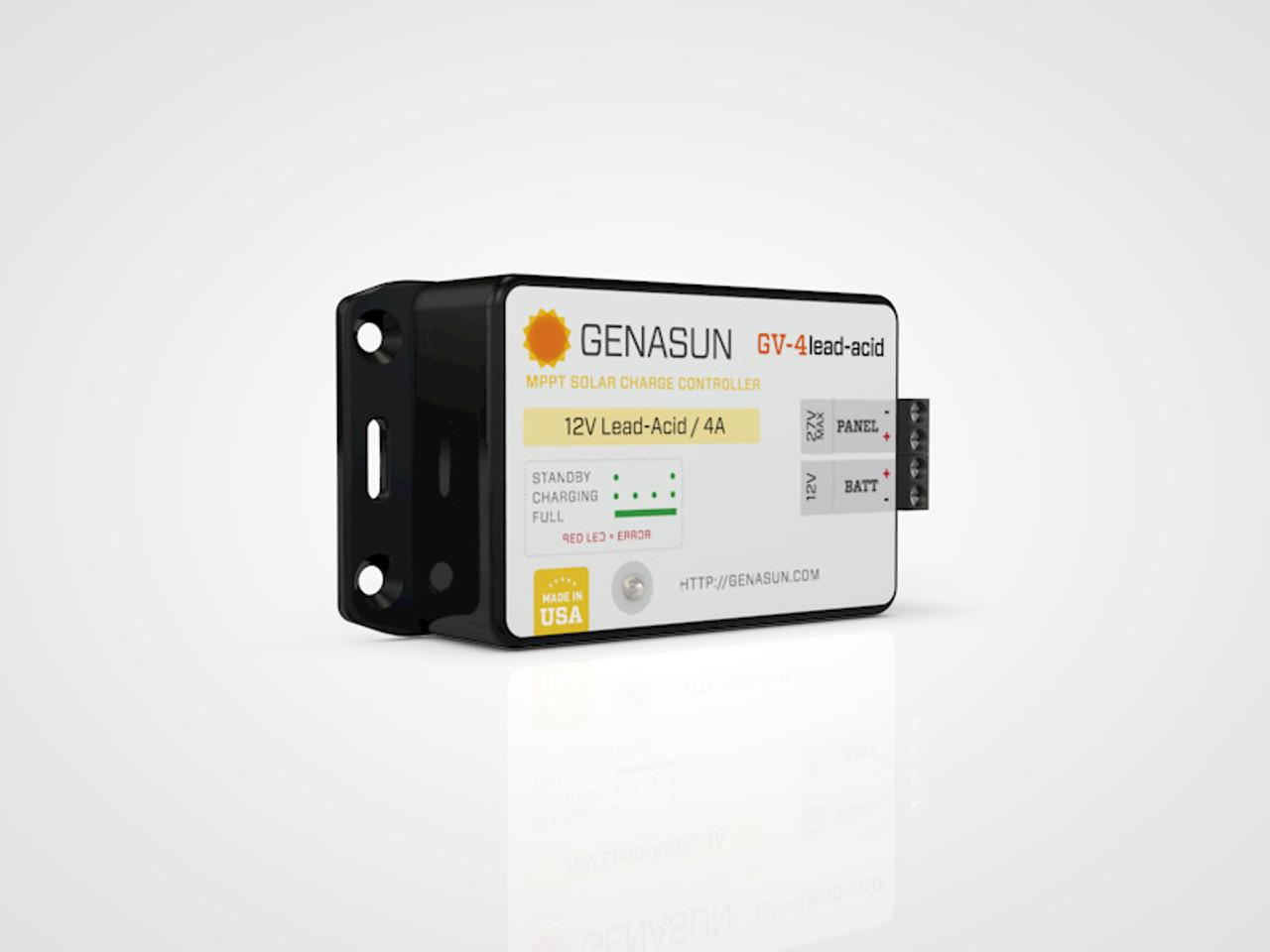 GV-4   50W 4A Genasun MPPT Solar Charge Controller - Pb - Left2