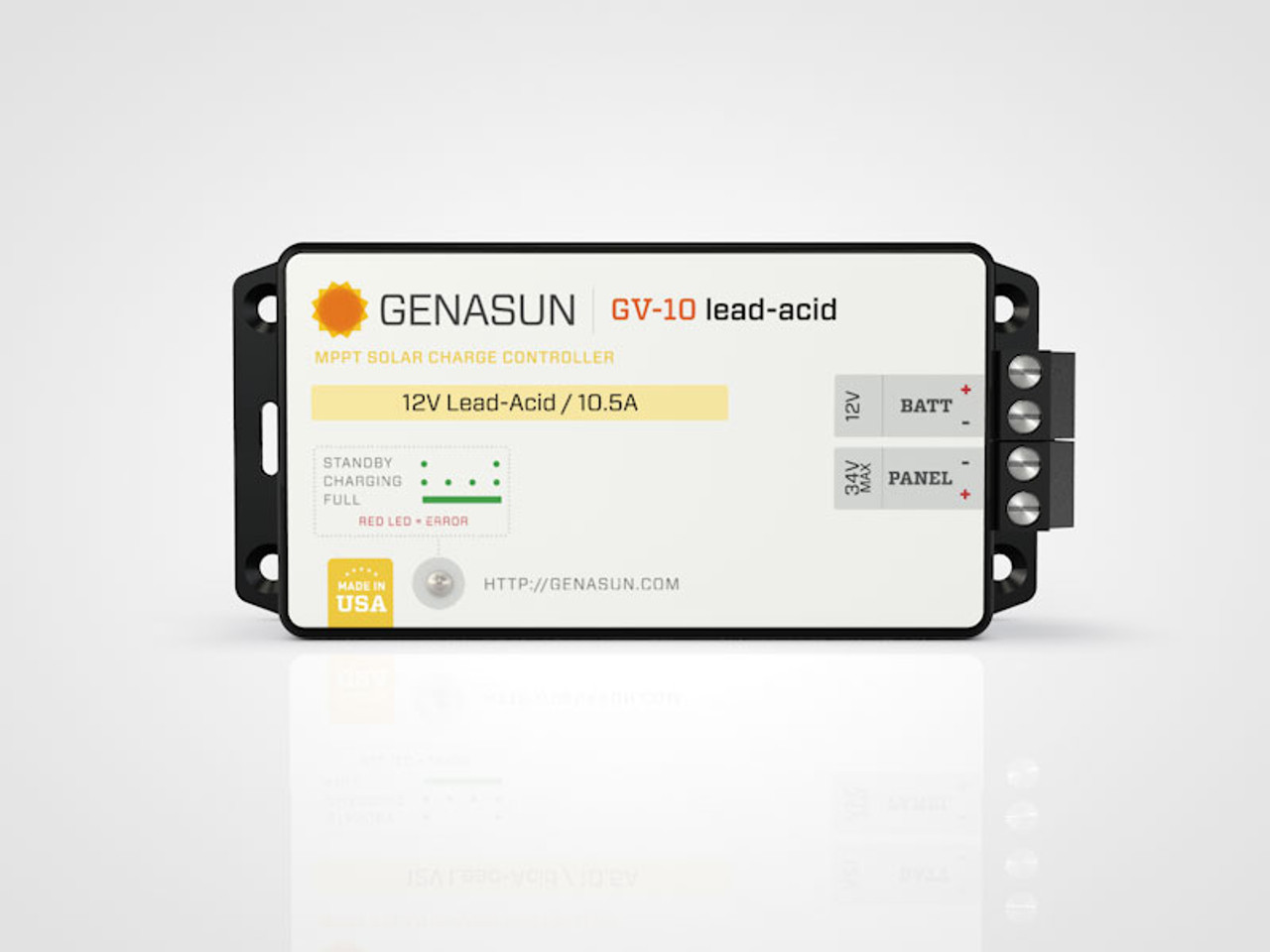 GV-10 | 140W 10.5A Genasun MPPT Solar Charge Controller - Pb - Front