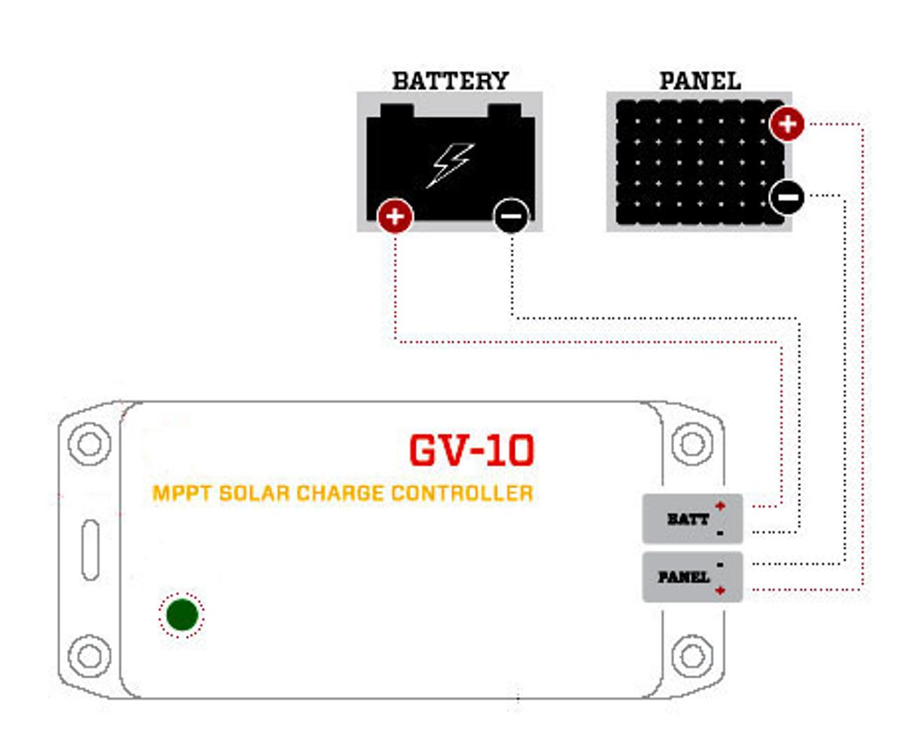 GV-10 | 140W 10.5A Genasun MPPT Solar Charge Controller - Pb - Diagram