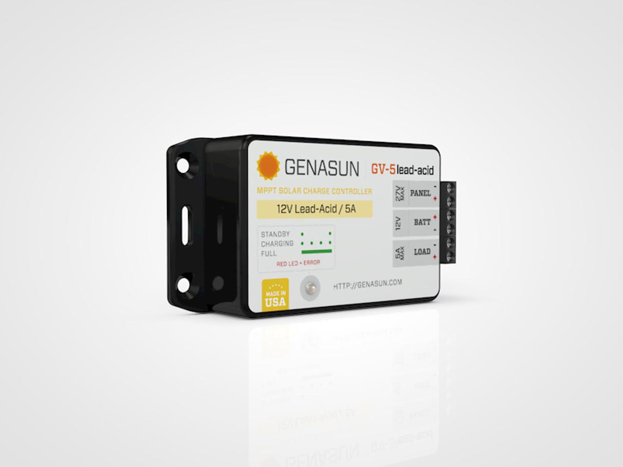 GV-5   65W 5A Genasun MPPT Solar Charge Controller - Pb - Left2
