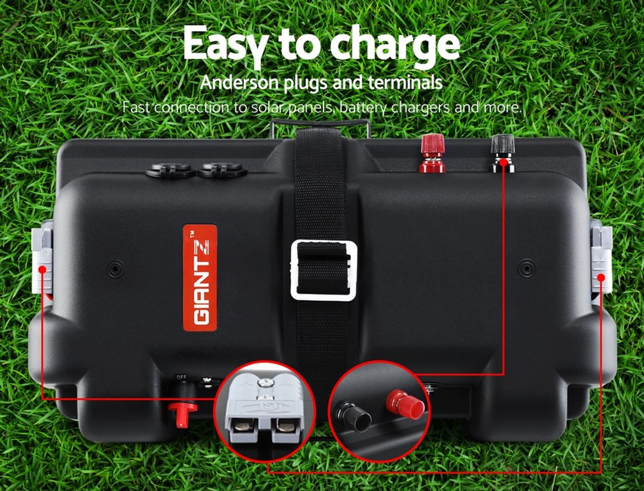 Giantz Deluxe Battery Box 12V Camping Portable Deep Cycle AGM Universal Large USB Cig Battery Monitor