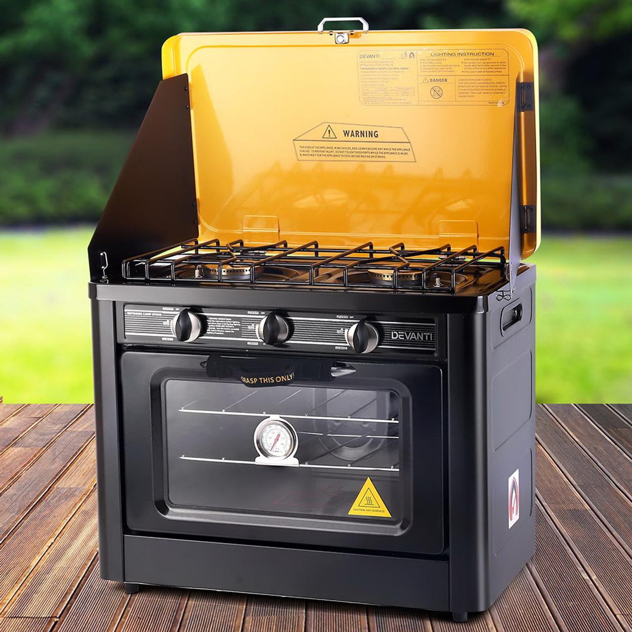 Devanti 3 Burner Portable Gas Oven LPG Camp Stove  - Black & Yellow