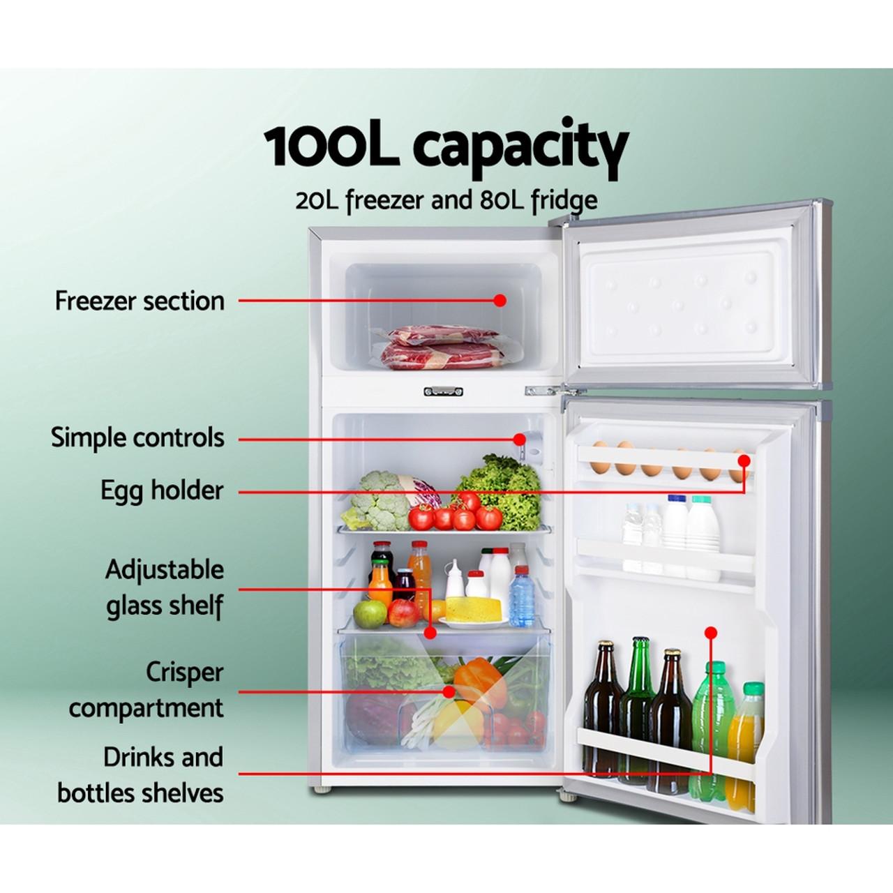 Glacio 100L Fridge Freezer Upright 12V/24V/240V Caravan 4WD Car Camping - White
