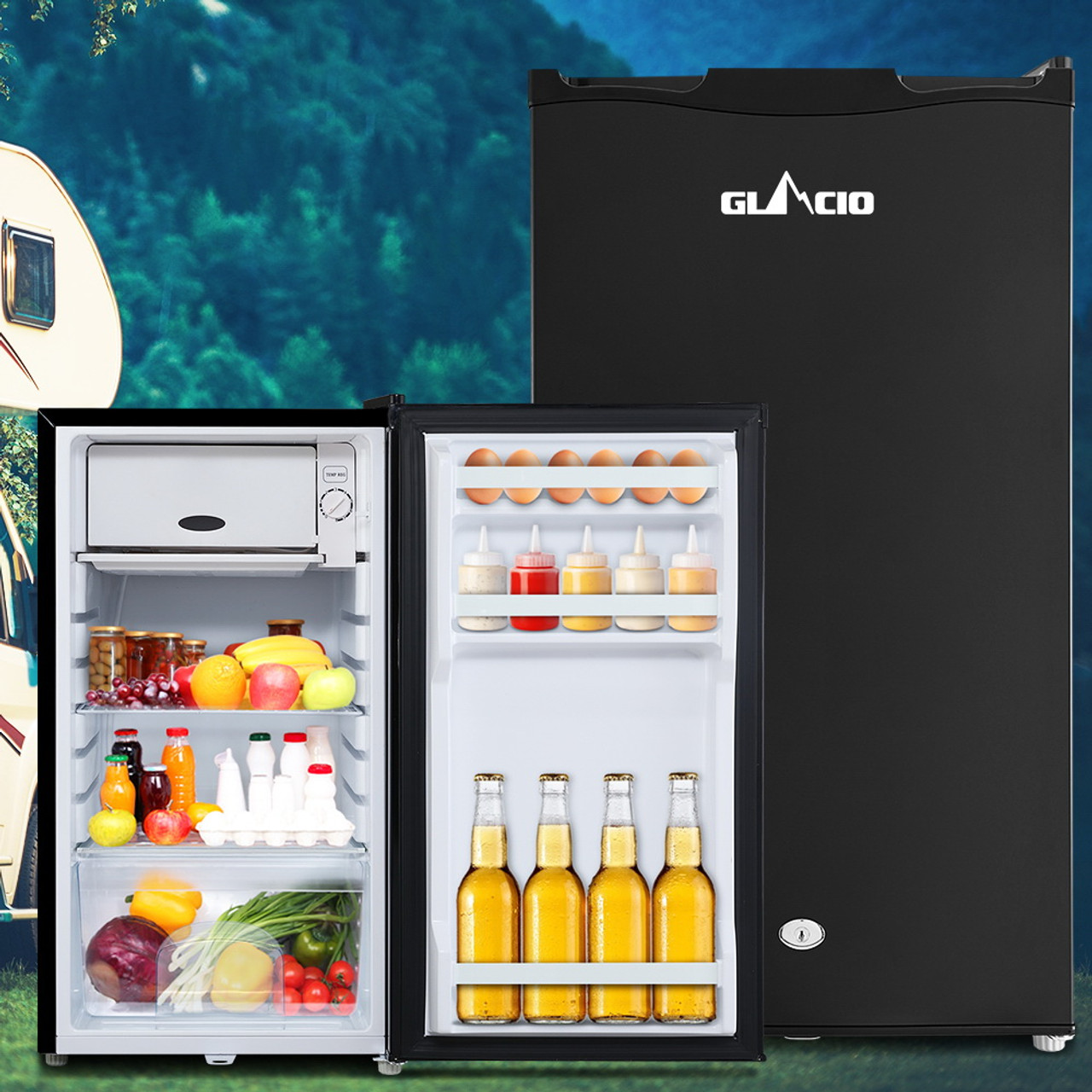 Glacio 95L Fridge Freezer Upright 12V/24V/240V Caravan 4WD Car Camping - Black