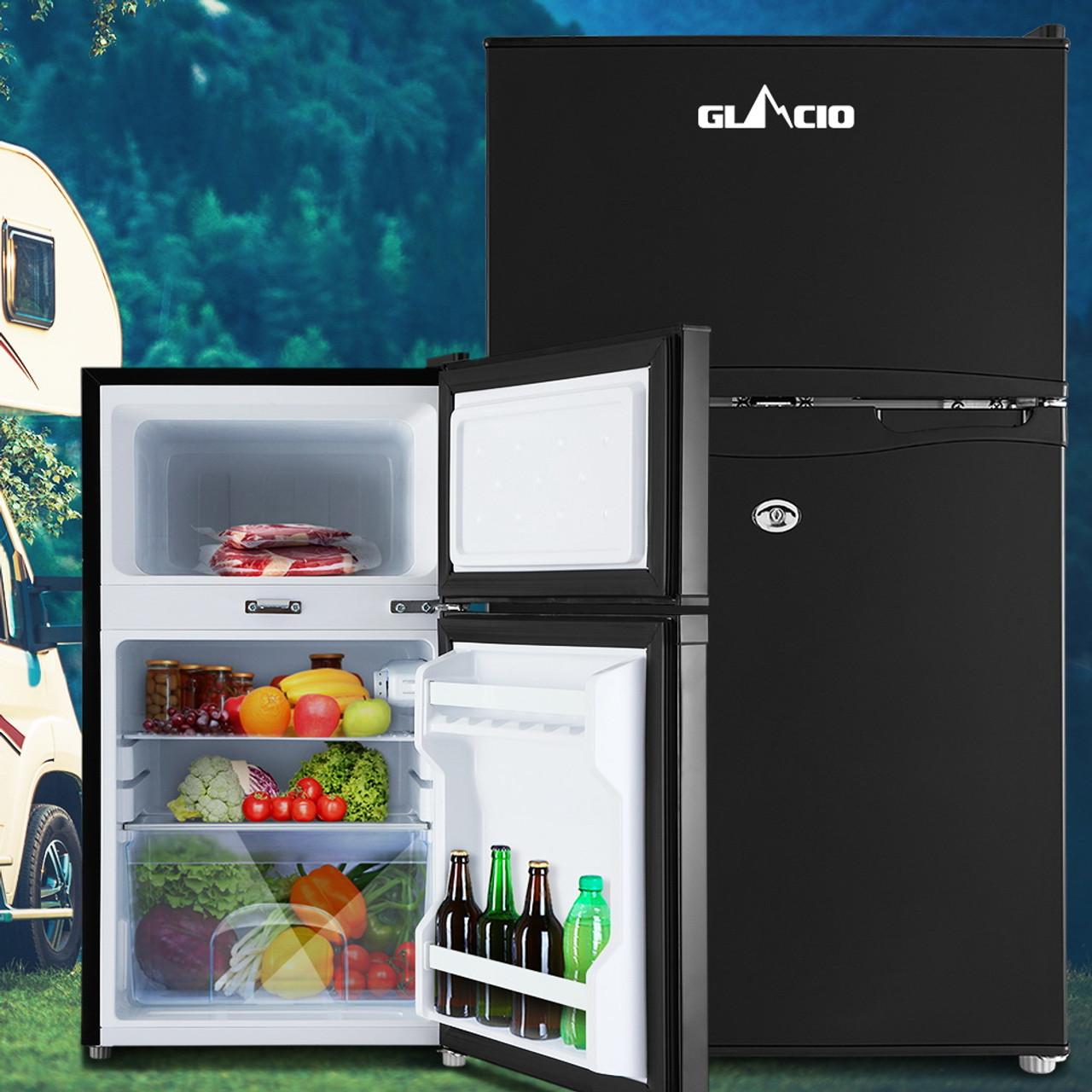 Glacio 90L Fridge Freezer Upright 12V/24V/240V Caravan 4WD Car Camping - Black