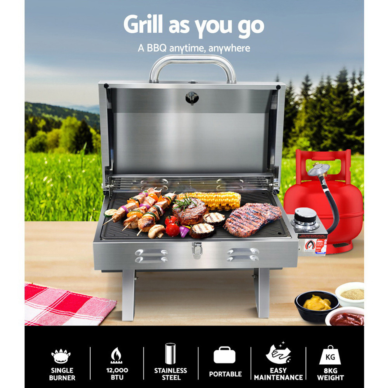 Grillz Portable Gas BBQ LPG Oven Camping Cooker Grill 1 Burner Stove Includes Grill Plate and Flat Plate Outdoor Camper Rv Caravan