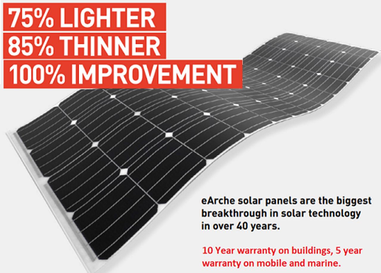 Sunman eArc 185W - Semi-Flexible Solar Panel - Frameless - Junction Box on Top
