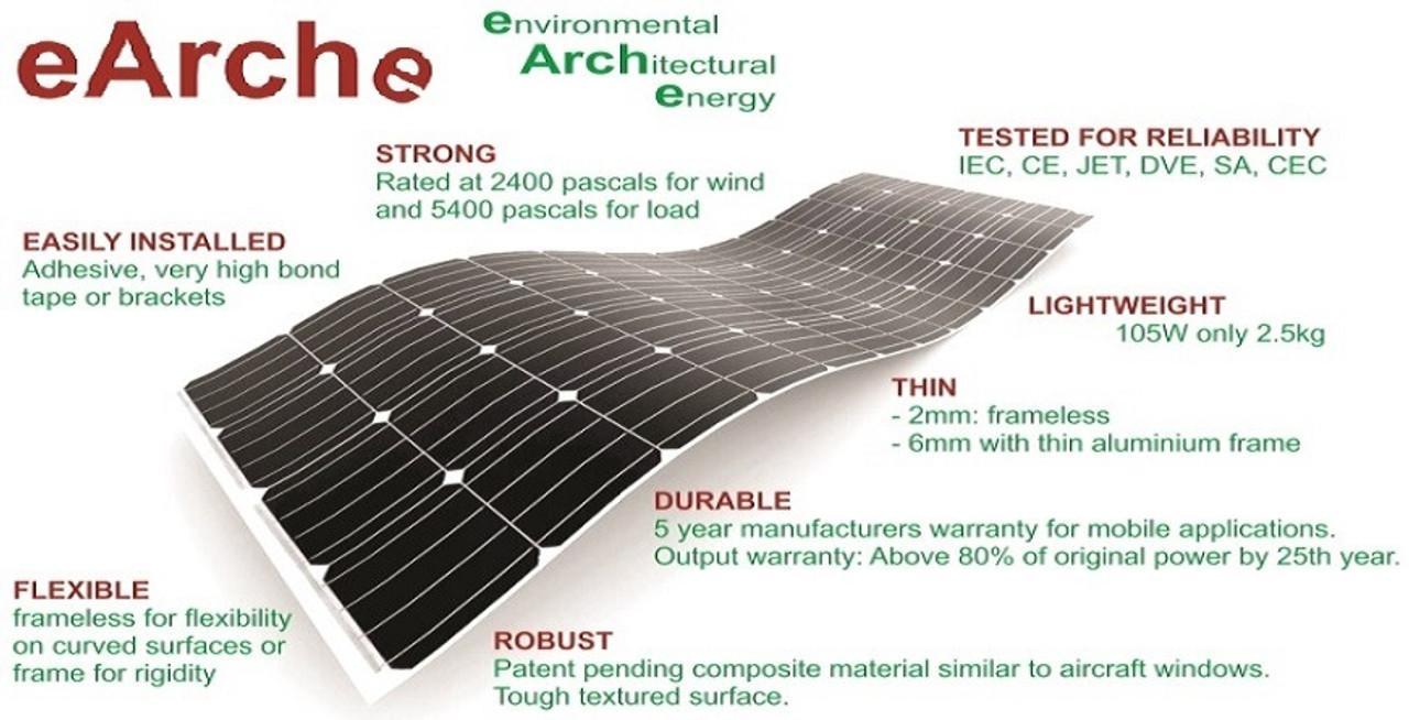 Sunman eArc 375W - Semi-Flexible Solar Panel - Frameless - Junction Box on Top
