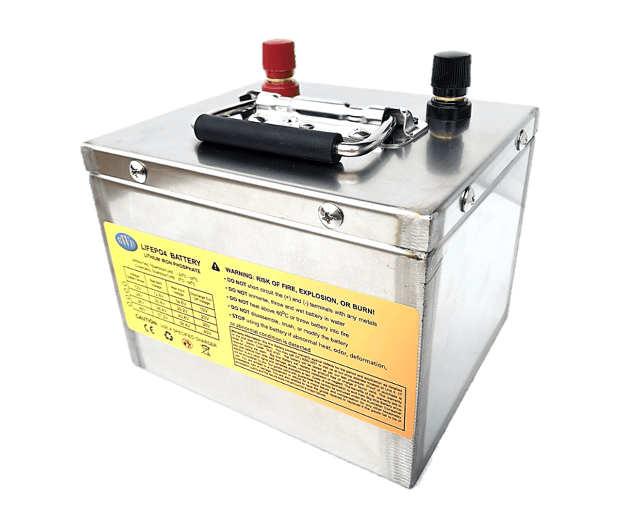 BWB 12.8V 50Ah 640WH Lithium Iron LiFePO4 Deep Cycle Battery Stainless Box - with Bluetooth Monitoring