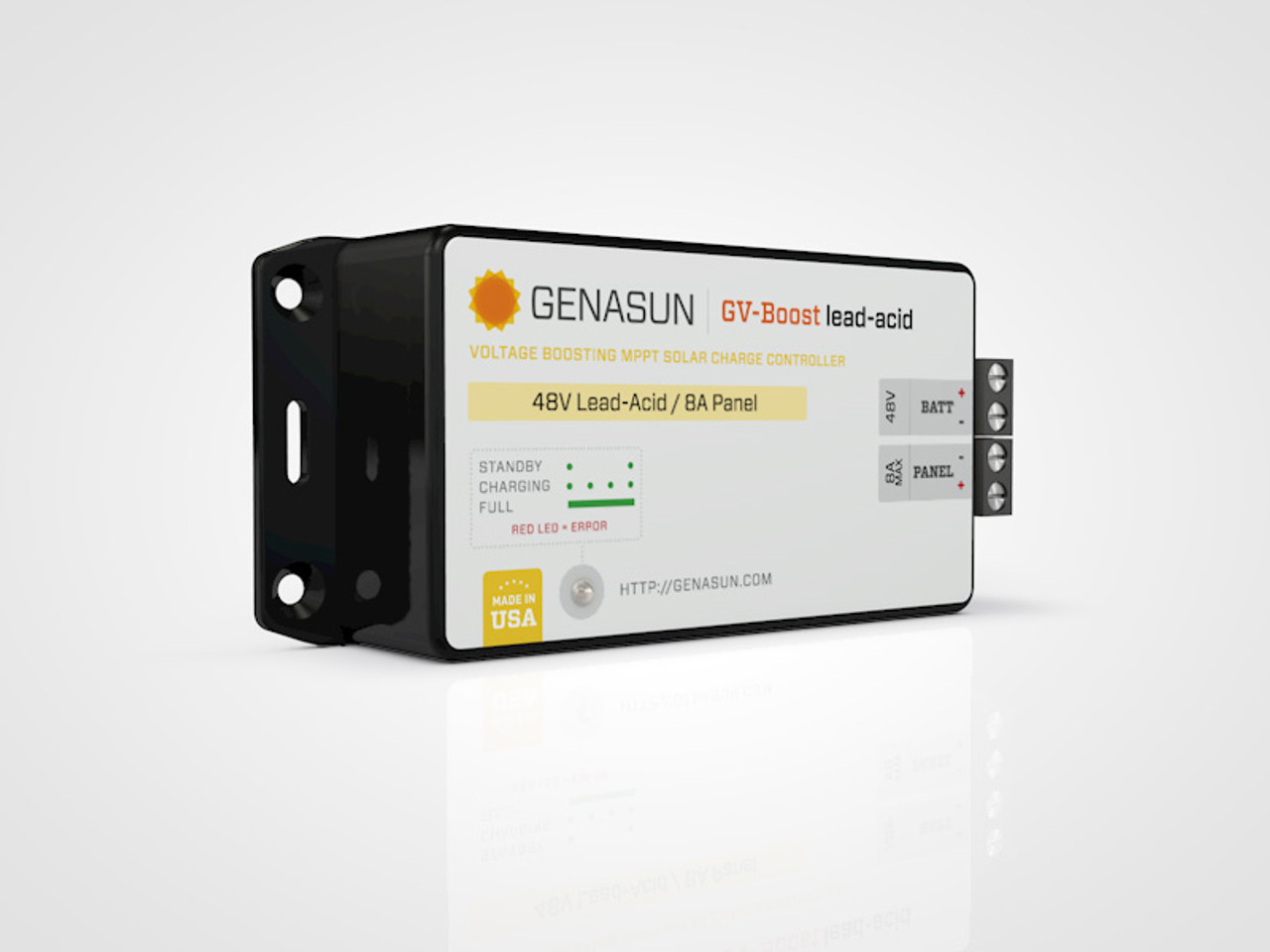GVB-8   105W 8A 12V Genasun MPPT Boost Solar Charge Controller - Pb - Left2