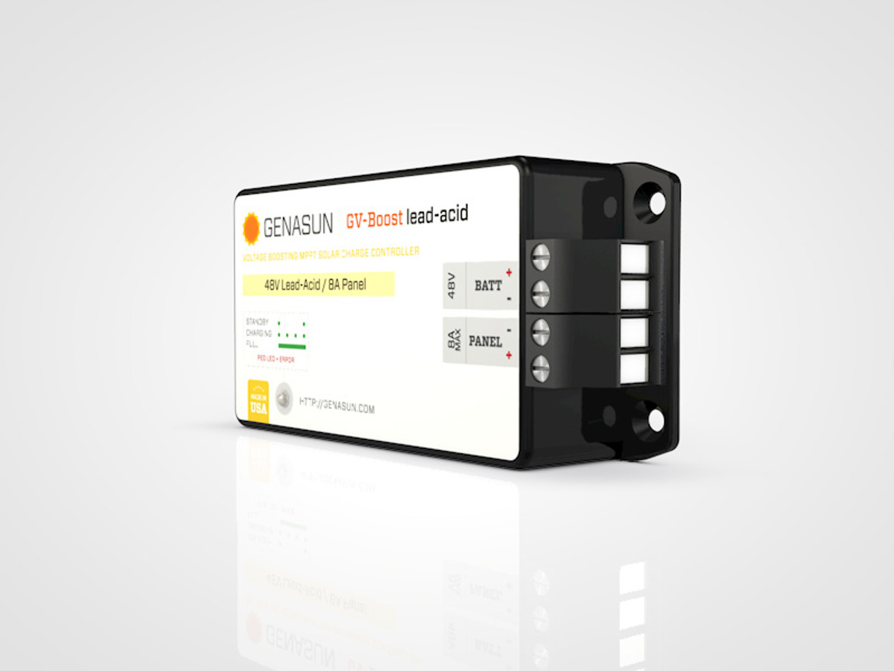 GVB-8   105W 8A 12V Genasun MPPT Boost Solar Charge Controller - Pb - Right1